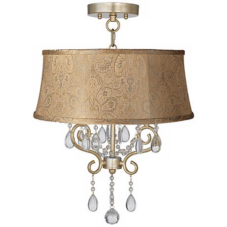"Conti 17"" Wide Ceiling Light with Wasby Tan Shade"