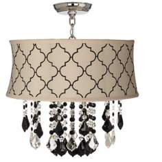 "Nicolli Black 17"" Wide Cream Tile Crystal Ceiling Light"