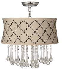 "Beatrix Crystal 17"" Wide Cream Tile Ceiling Light"