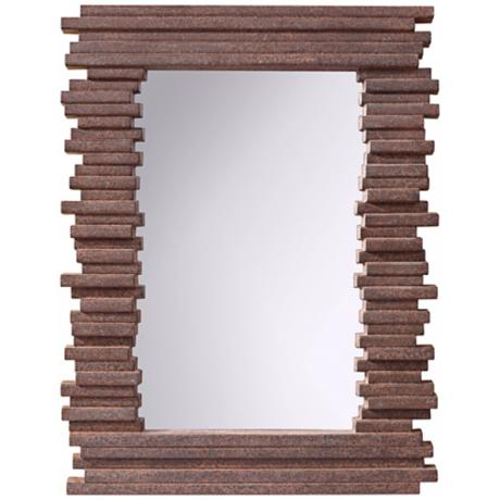 "Murray Feiss Stacked 39 1/2"" High Gray Rock Wall Mirror"