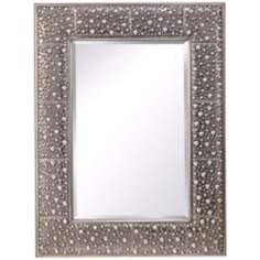 "Murray Feiss Danby 40"" High Rustic Silver Wall Mirror"