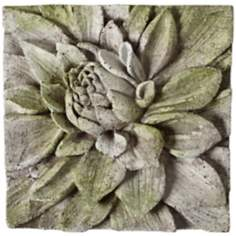 "Dahlia 13 1/2"" Square White Moss Outdoor Wall Plaque"