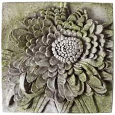 "Chrysanthemum 13 1/2"" Square White Moss Outdoor Wall Plaque"