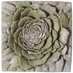 "Rose 13 1/2"" Square White Moss Outdoor Wall Plaque"