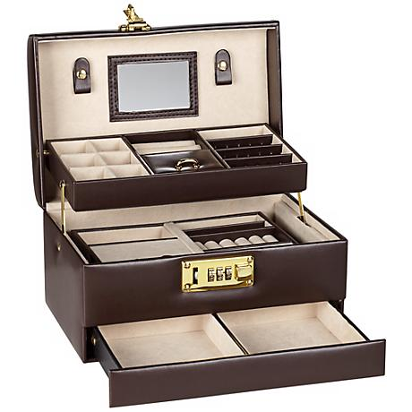 Brown Faux Leather Locking Jewelry Box