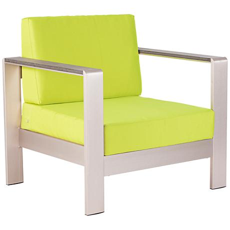 Zuo Cosmopolitan Aluminum Outdoor Armchair with Green Cushions