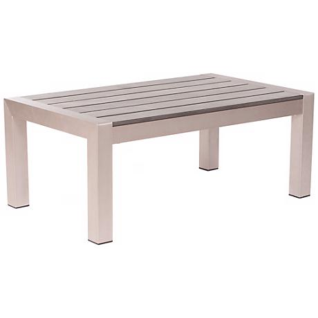 Zuo Cosmopolitan Brushed Aluminum Outdoor Coffee Table