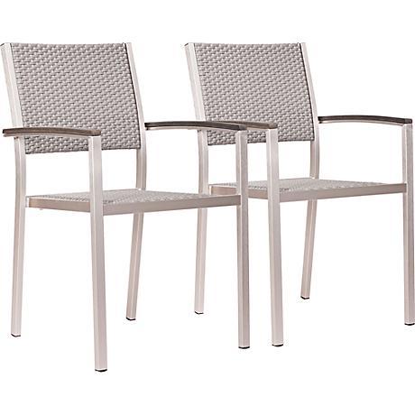 Zuo Metropolitan Brushed Aluminum Outdoor Armchair Set of 2