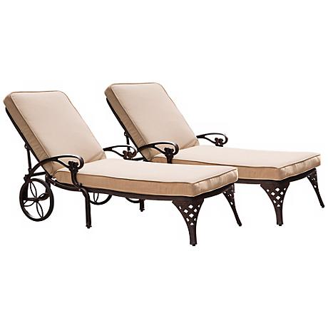 Set of 2 Biscayne Taupe and Bronze Chaise Outdoor Chairs