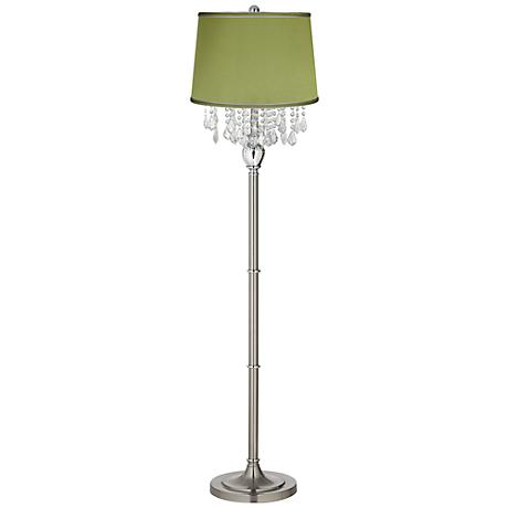 Crystals olive green satin shade satin steel floor lamp for Olive wood floor lamp