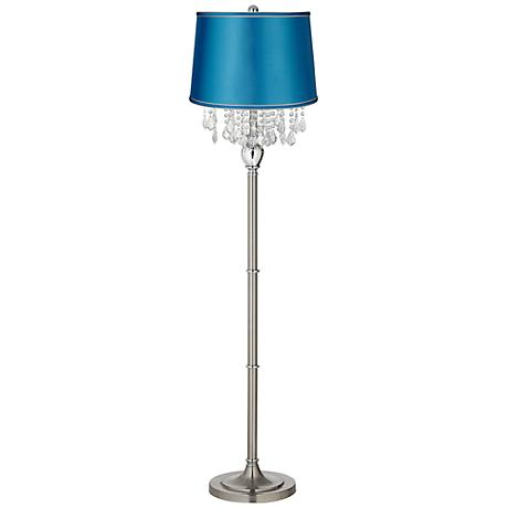 Crystals Turquoise Satin Shade Satin Steel Floor Lamp