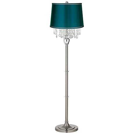 Crystals Teal Blue Satin Shade Satin Steel Floor Lamp