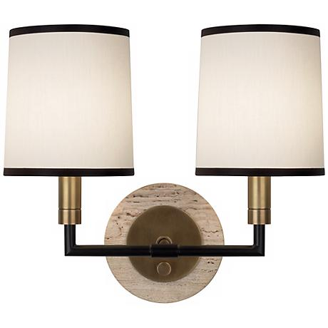 Double Wall Sconce With Shades : Robert Abbey Axis Aged Brass Double Wall Sconce - #Y9135 www.lampsplus.com