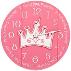 "Precious Pink Princess 14""W Pink Children's Wall Clock"