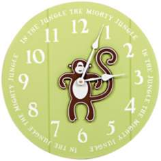 "Monkey Jungle 14"" Wide Green Children's Wall Clock"