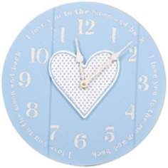"Heart Moon 14"" Wide Blue Children's Wall Clock"