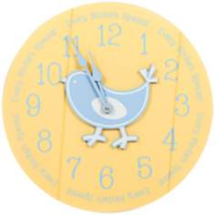 "Bird 14"" Wide Yellow Children's Wall Clock"