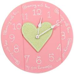 "Heart Blooming 14"" Wide Funky Pink Children's Wall Clock"