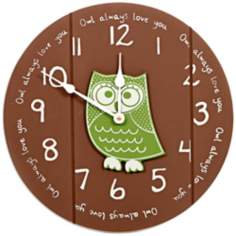 "Owl Always Love You 14"" Wide Funky Children's Wall Clock"