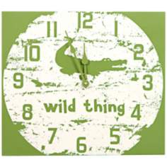 "Crocodile Wild Thing 15 3/4""W Green Children's Wall Clock"