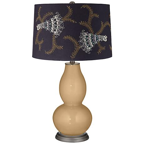 Sand Embroidered Peacock Shade Double Gourd Table Lamp