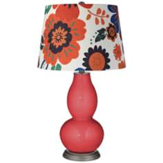 Cayenne Multicolor Flowers Shade Double Gourd Table Lamp