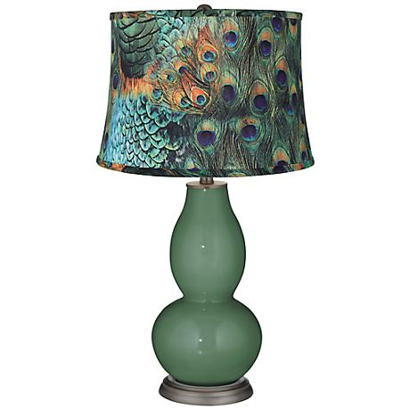 Comfrey Peacock Print Shade Double Gourd Table Lamp