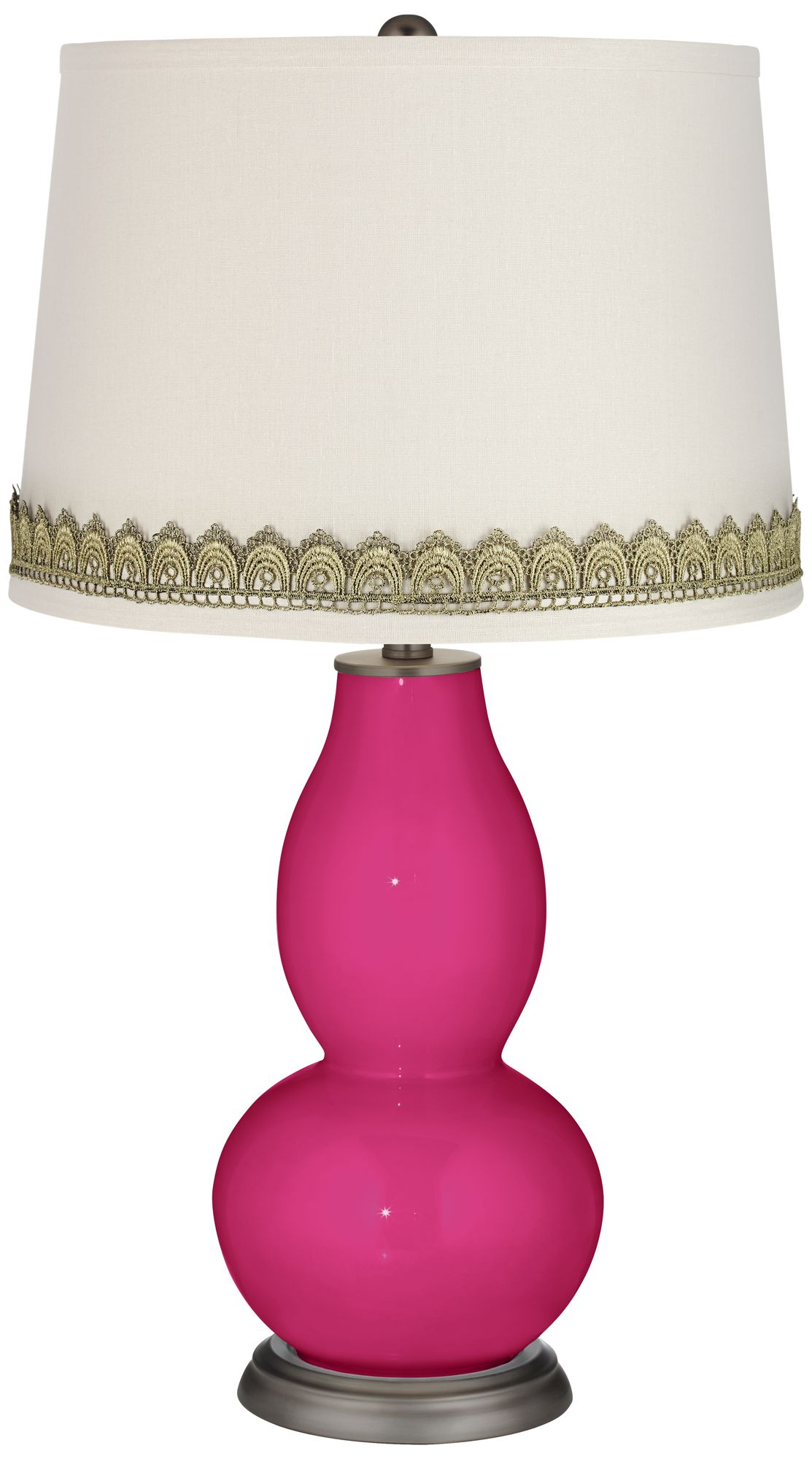 Replica Slim Lamp Cheap Beetroot Purple Double Gourd Table Lamp with Scallop Lace Trim