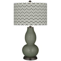 Deep Lichen Green Narrow Zig Zag Double Gourd Table Lamp