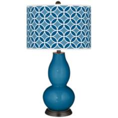 Mykonos Blue Circle Rings Double Gourd Table Lamp