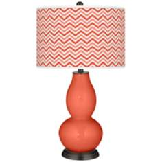 Modern Orange Narrow Zig Zag Double Gourd Table Lamp
