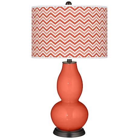 Daring Orange Narrow Zig Zag Double Gourd Table Lamp