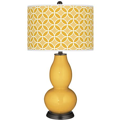 Goldenrod Circle Rings Double Gourd Table Lamp