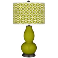 Olive Green Circle Rings Double Gourd Table Lamp