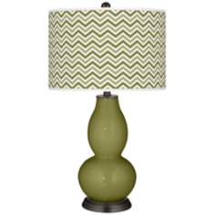 Rural Green Narrow Zig Zag Double Gourd Table Lamp