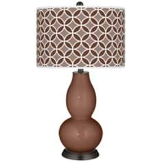 Rugged Brown Circle Rings Double Gourd Table Lamp
