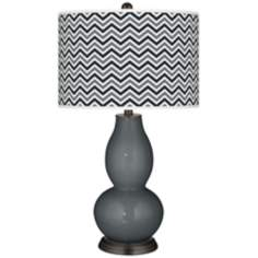 Black of Night Narrow Zig Zag Double Gourd Table Lamp