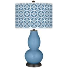 Secure Blue Circle Rings Double Gourd Table Lamp