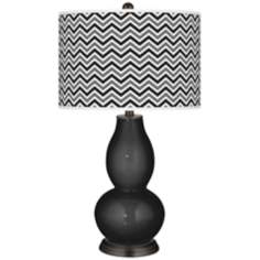 Tricorn Black Narrow Zig Zag Double Gourd Table Lamp