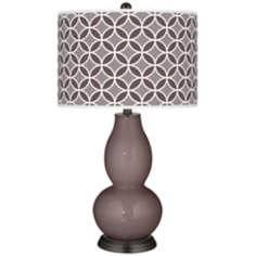 Deepest Mauve Circle Rings Double Gourd Table Lamp