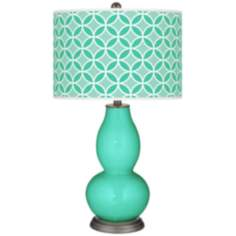 Turquoise Circle Rings Double Gourd Table Lamp