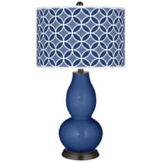 Monaco Blue Circle Rings Double Gourd Table Lamp