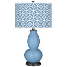Dusk Blue Circle Rings Double Gourd Table Lamp