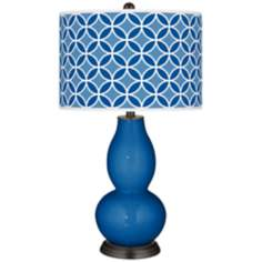 Hyper Blue Circle Rings Double Gourd Table Lamp