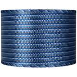 Blue Zig Zag Drum Lamp Shade 16x16x11 (Spider)