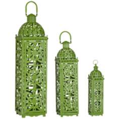 Lattice Set of 3 Green Openwork Lantern Candle Holders