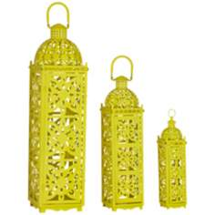 Rachael Set of 3 Yellow Openwork Lantern Candle Holders