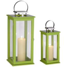Rachael Set of 2 Tall Green Lantern Candle Holders
