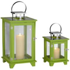 Rachael Set of 2 Wide Green Lantern Candle Holders