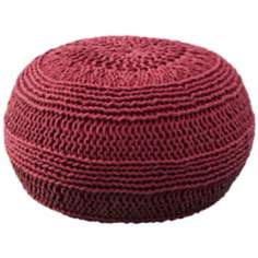 Red Roped Cotton Pouf Ottoman